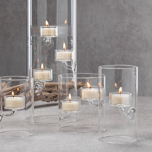 zodax Suspended Glass Tealight Holder / Hurricane - tall clear modern floating