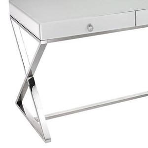 1141105 elk dimond home super white glass 2 drawer stainless steel chrome desk