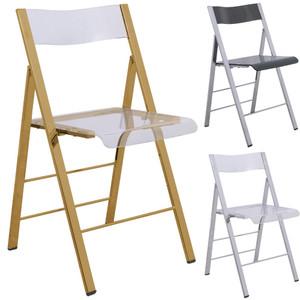 leisuremod menno modern acrylic lucite folding game chair metal frame gold