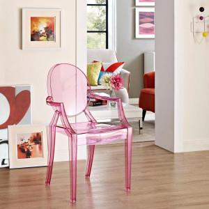 modway casper transparent pink dining armchair acrylic plastic ghost replica