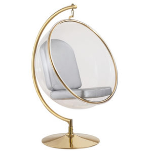 finemod gold brass clear acrylic lucite plastic ball bubble chair on stand modern