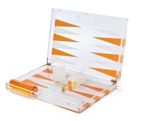tizo color acrylic lucite backgammon game set orange