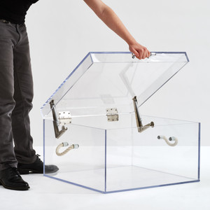 Clear Lucite Storage Crate with Rope Handles,