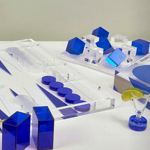 tizo modern acrylic lucite tic tac toe cobalt blue ice clear transparent