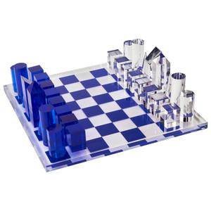 Luxury Acrylic Cobalt Blue & Clear Chess Set (HA118CHES