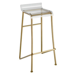 elk home clear acrylic low back gold brass hyperion bar stool lucite