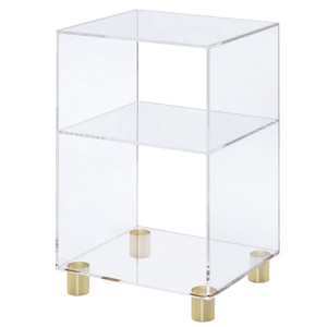 clear lucite acrylic small bookcase bookshelf end side accent nighstand gold brass feet
