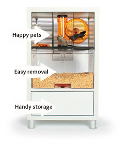 Omlet Birch Style QUTE Gerbil and Hamster Cage with Storage modern white