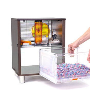 Omlet Birch Style QUTE Gerbil and Hamster Cage with Storage  white