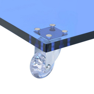 Clear Blue Acrylic Slide Table with Wheels