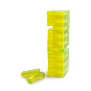 acrylic jenga set in acrylic plastic bright color lucite chic modern game