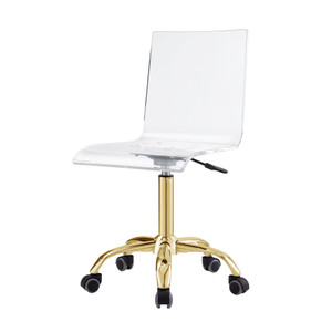 AC159-09GD-BB inspired home casandra clear acrylic lucite transparent desk office chair swivel adjustable
