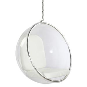 finemod  FMI1122 clear bubble chair white cushions hanging chrome chain