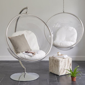 Hanging Clear Bubble Chair with White Cushion & Chrome Chain