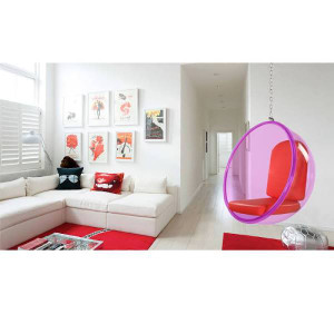 10153-Red finemod pink acrylic lucite hanging bubble chair red cushion chrome chain
