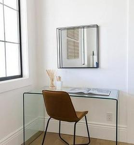"modern tempered glass waterfall parsons style 50"" desk eurway denmark"