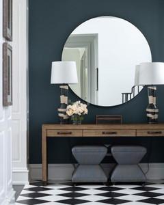 cooper classics modern round black ebony wall mirror cordova
