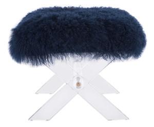 safavieh coroline navy genuine sheepskin mongolian blue fur top acrylic lucite x leg ottoman stool bench modern