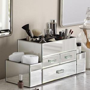 OnDisplay Amara 3 Drawer Tiered Silver Mirrored Makeup/Jewelry Organizer