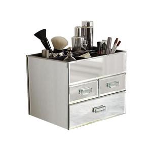 OnDisplay Miro 3 Drawer Tiered Mirrored Glass Makeup/Jewelry Organizer