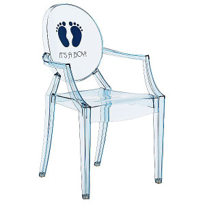 Kartell Lou Lou Light Blue It's a Boy Chair lucite acrylic kids child size baby ghost