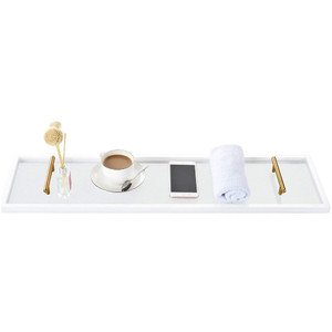 frosted acrylic lucite gold handle bath caddy