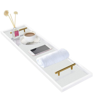 frosted acrylic lucite modern bath caddy gold handles