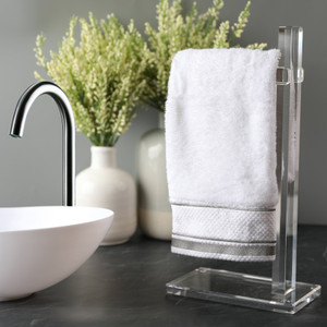 modern lucite acrylic clear hand towel bathroom powder room stand accessory