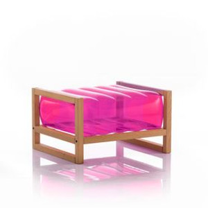 mojow yoki inflatable wood frame ottoman stool pouffe blow up kids indoor outdoor