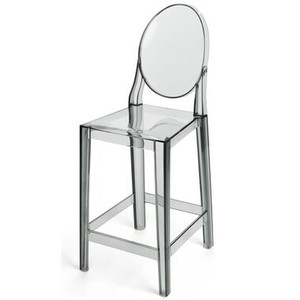 clear acrylic replica Kartell ghost bar stools with back no arms clear grey