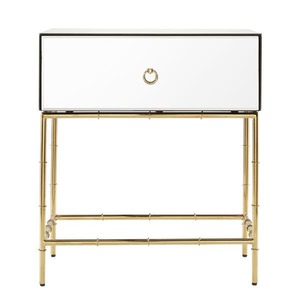 mirrored 1 drawer nightstand with gold bamboo legs modern