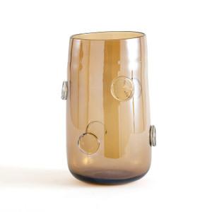 Modern Handblown Glass Bubble Vase unique amber smoky grey