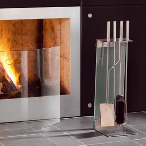 modern frosted glass stainless steel fireplace tool set contemporary