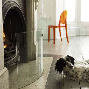 Mentas Hardened Crystal Fireplace Screen modern curved handle