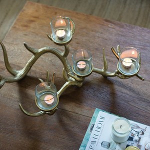 Modern Gold Metal Branch with Glass Votives