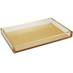 large acrylic brushed gold serving tray with lucite sides tizo