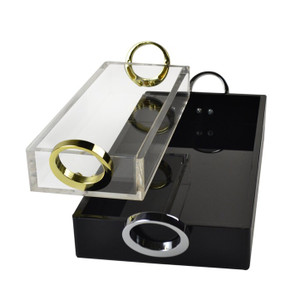 rojo 16 clear acrylic lucite tray gold ring pull handles modern black chrome