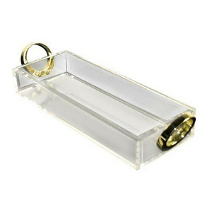 rojo 16 clear acrylic lucite tray gold ring pull handles modern