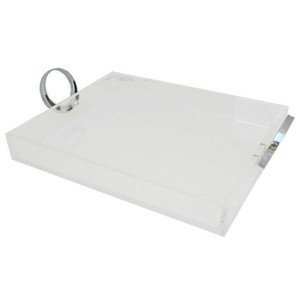 Clear Lucite Tray with Bright Chrome Ring Handles