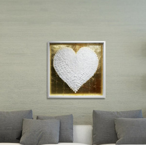large white heart feathers gold leaf metallic lux glam shadow box frame acrylic lucite