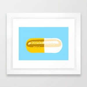 Chill Pill Blue Color Print in White Frame and Acrylic