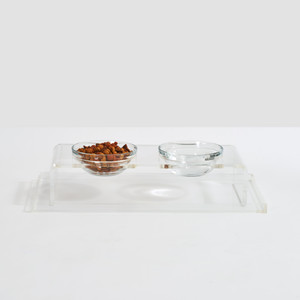Small Pet Lucite acrylic Double Feeder with Glass Bowls