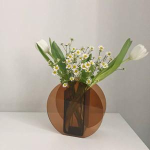 Amber Modern Lucite Round Vases,