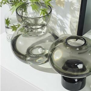 Modern Handblown Glass Black Vases,  Options