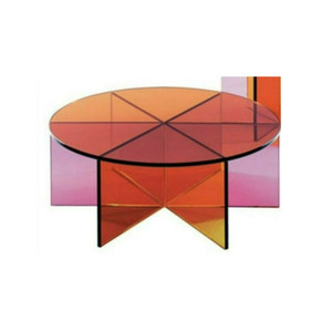 bright color modern pink orange round coffee cocktail table lucite acrylic
