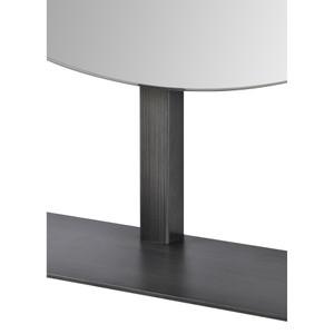 Modern Round Tabletop or Hanging Grey Metal Mirror