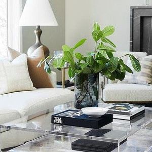 """1"""" Thick Lucite Coffee Table with Straight Corners"""