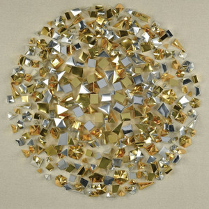 Modern Gold and Silver Cubes in Clear Shadow Box