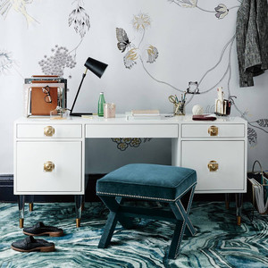 White and Gold Storage Drawer Desk with Acrylic Hardware