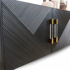 Black 4 Door Ribbed Wood Credenza with Lucite Hardware